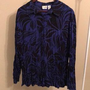 Chico's Black & Blue Crinkled Blouse - Size XL/16